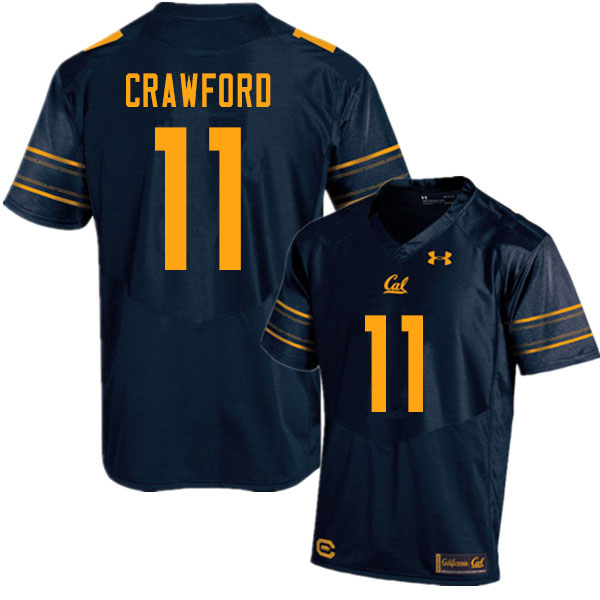 Men #11 Kekoa Crawford Cal Bears UA College Football Jerseys Sale-Navy
